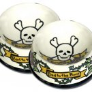 Bad To The Bone - Large Dog Bowl Set - Handpainted - Personalized