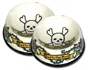 Bad To The Bone - Large Dog Bowl Set - Handpainted - Personalized