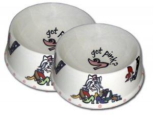 Got Pink - Large Dog Bowl Set - Handpainted - Personalized