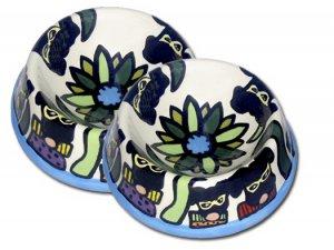Masquerade - Large Dog Bowl Set - Handpainted - Personalized