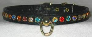 Dog Collar Rhinestone Turquoise 14 x 3/8 Collars