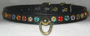 Dog Collar Rhinestone BLUE 14 x 3/8 Collars
