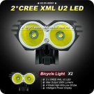 1 Set bike light Cree XML U2 LED 2000 Lumens Bicycle Light+Power Indicate Waterproof Battery Pack