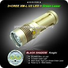 Black Shadow Knight 2x Cree XM-L U2 LED +1 x Green Laser Light 4 Mode 3x18650 High Power LED Torch