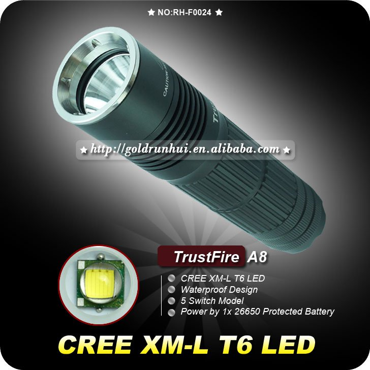 1PC TrustFire A8 5 Mode 1000 Lumens CREE XM-L T6 26650 LED Flashlight