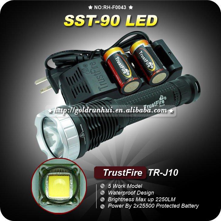 1Set TrustFire TR-J10 SST-90 5 Mode 2250 LM White LED Memory Flashlight+2*25500 Battery+1 charger