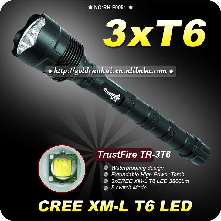 1PC Trustfire 3T6 5 Mode 3800 Lumens 3x CREE XM-L XML T6 LED Flashlight Extendable High Power Torch