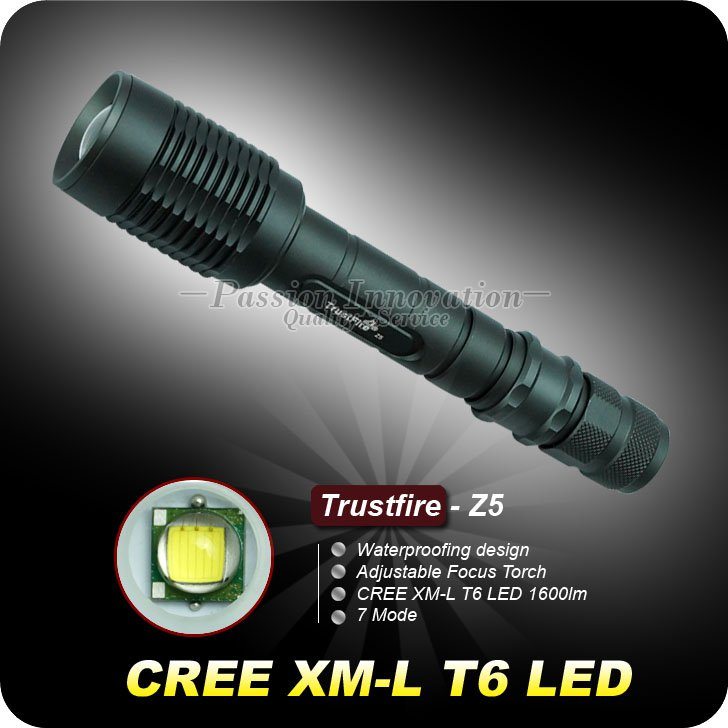 1PC Trustfire Z5 7 Mode 1600 Lumens CREE XM-L T6 LED Flashlight 18650 Zoomable Adjustable Torch
