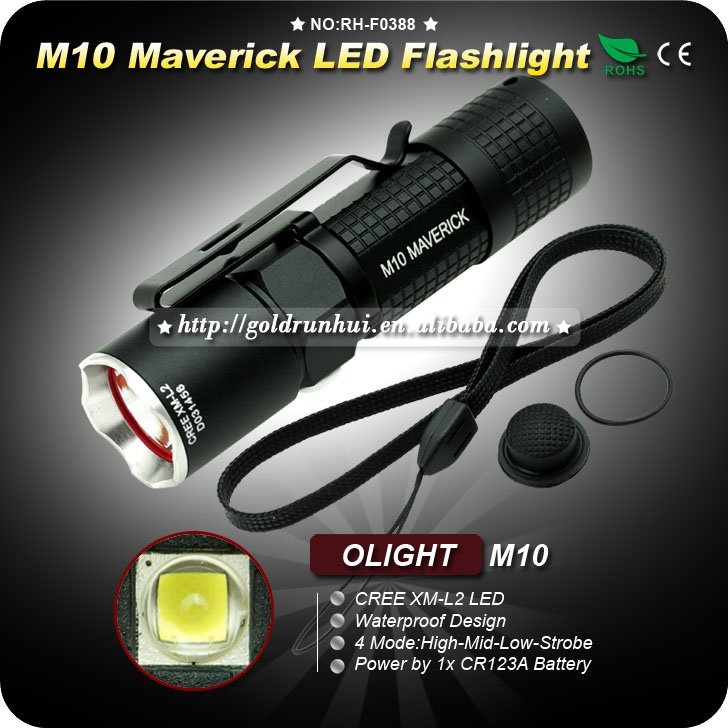 1PC Flashlight OLIGHT M10 Maverick LED 350LM CR123 EDC Pocket Flashlight