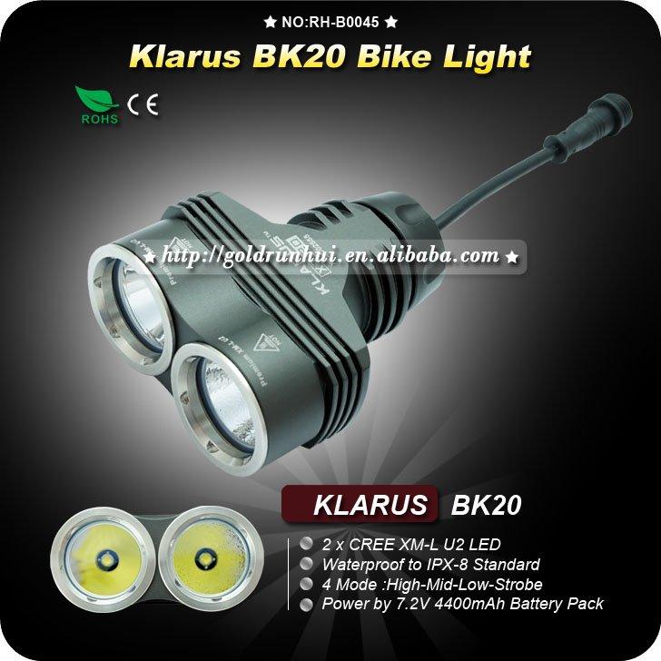 1PC Klarus BK20 Bike light 1200 Lumens 4 Mode Bike Front Light 2x Cree XML U2 LED Bike Light