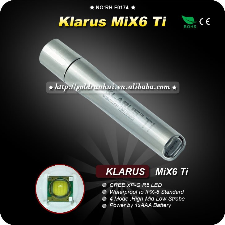1PC Klarus MiX64 Mode Stainless Steel Key Chain Camping Hiking Mini Brightest Torch