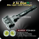 1 Set KLARUS BK20-AB Bicycle Light+XT20 Flashlight 2 In One 2XCree XML U2 LED Dual Head
