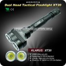 1PC KLARUS XT20 Tactical Flashlight Dual Head Powerful Cree XML U2 LED 1200LM