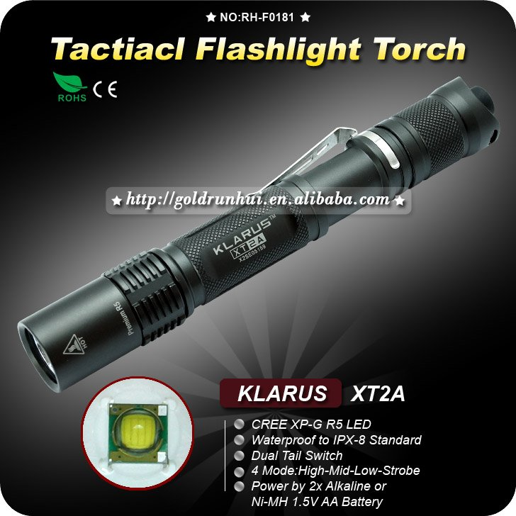 1PC KLARUS XT2A Tactical Flashlight 4 Mode CREE XPG-R5 LED Flashlight 2x AA Battery