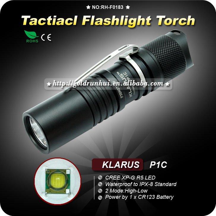 1PC KLARUS P1C Flashlight 2 Mode CREE XP-G R5 LED Flashlight CR123 Battery