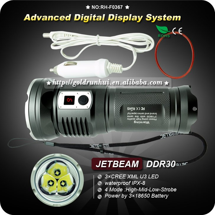 1 PC JETBeam DDR30 Rechargeable Digital Display 3XCree XML U3 3XU3 3200 Lumen LED