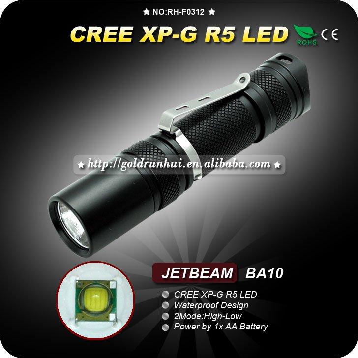 1PC JETBEAM BA10 Flashlight Aluminum Waterproof to IPX-8 2 Mode CREE XP-G R5 LED Flashlight