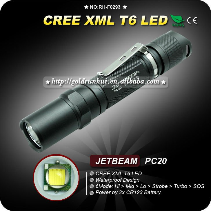 1PC JETBEAM PC20 Flashlight Aluminum Waterproof to IPX-8 6 Mode CREE XM-L XML T6 LED Flashlight
