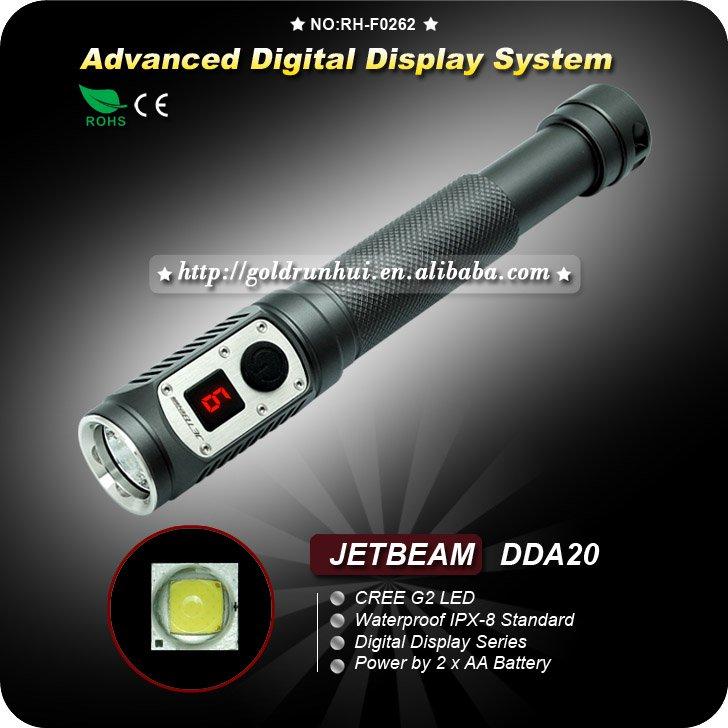 1 PC JETBeam DDA20 Digital Display AA Cree G2 LED 285 lumens waterproof IPX-8