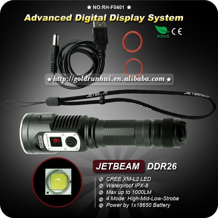 JETBeam DDR26 Digital Display Cree XM-L2 LED 1000LM USB Rechargeable 18650 Flashlight