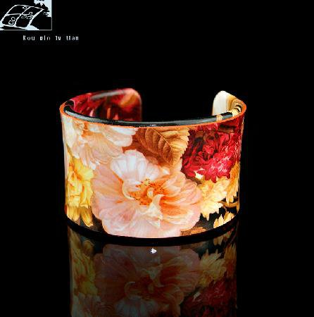 Hand-painted oil painting flower pattern fashion leather bracelet adjustable free shipping -zp003.