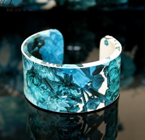 Hand-painted oil painting pattern leather bracelet blue bracelet adjustable free shipping -zp005