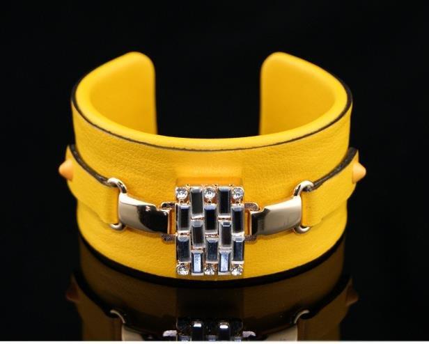 Fashion leather bracelet beautifully painted yellow mosaic crystal elastic adjustable free shipping
