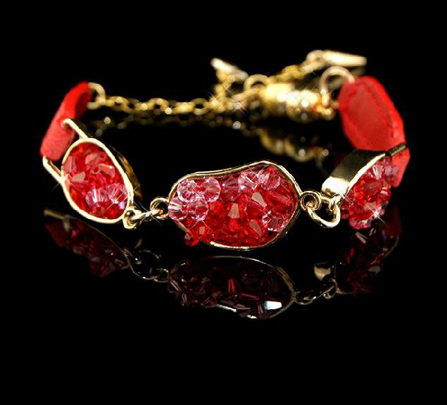 Star Fashion beautifully painted leather inlay natural crystal bracelet strap gift free shipping