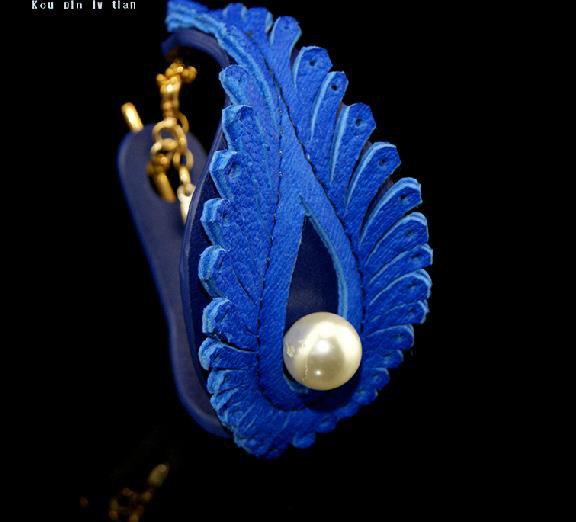 Fashion leather bracelet Phoenix feather painted blue beautiful gift free shipping -zp043