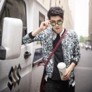 idjewelry cool holiday gift flower fashion Slim casual jacket collar jacket male students NY009