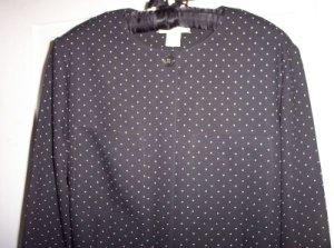 Career Office Liz Claiborne Blouse Top Shirt 6 Black Polka Dots Long Sleeve