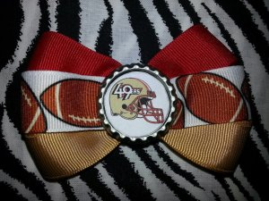 Sporty Bottlecap Bowtie NFL Football San Fransico 49ers Logo Hair Bow ~ Free Shipping