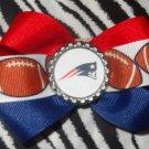 Sporty Bottlecap Bowtie NFL Football New England Patriots Logo Hair Bow ~ Free Shipping