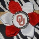 Sporty Bottlecap Flower NCAA Oklahoma Sooners Logo Hair Bow ~ Free Shipping