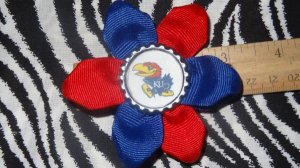 Sporty Bottlecap Flower NCAA Kansas Jayhawks Logo Hair Bow ~ Free Shipping