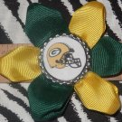 Sporty Bottlecap Flower NFL Football Green Bay Packers Helmet Logo Hair Bow ~ Free Shipping