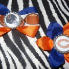 Sporty Bottlecap Set NFL Football Chicago Bear Logo Hair Bow ~ Free Shipping