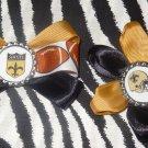 Sporty Bottlecap Set NFL Football New Orleans Saints Logo Hair Bow ~ Free Shipping