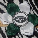 Sporty Bottlecap Flower NFL Football New York Jets Logo Hair Bow ~ Free Shipping