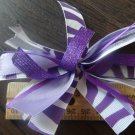 Cheer-riffic Pom Pom Purple White Zebra Animal Print 4 inch Hair Bow~Free Shipping