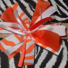 Cheer-riffic Pom Pom Orange White Zebra Animal Print 4 inch Hair Bow~Free Shipping