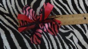 Cheer-riffic Pom Pom Pink Black Zebra Animal Print 4 inch Hair Bow~Free Shipping