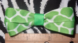 Simply Cute Green Giraffe Animal Print 2.5 x 1 inch Hair Bow Clip Only $3.00 ~ Free Shipping