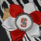 "Sporty Bottlecap Flower NCAA Stanford Cardinal ""S"" Tree Logo Hair Bow ~ Free Shipping"