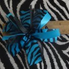 Cheer-riffic Pom Pom Blue Black Zebra Animal Print 4 inch Hair Bow~Free Shipping