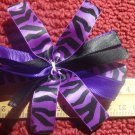 Cheer-riffic Pom Pom Purple Black Zebra Animal Print 4 inch Hair Bow~Free Shipping