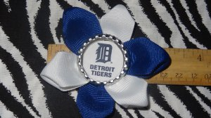 Sporty Bottlecap Flower MLB Baseball Detroit Tigers Logo Hair Bow ~ Free Shipping