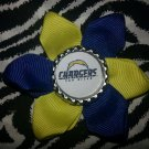 Sporty Bottlecap Flower NFL Football San Diego Chargers Hair Bow ~ Free Shipping