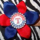 Sporty Bottlecap Flower MLB Baseball Texas Rangers Hair Bow ~ Free Shipping