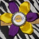 Sporty Bottlecap Flower NBA Basketball Los Angeles LA Lakers Logo Hair Bow ~ Free Shipping